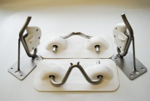 PVC Snap Davit Kit Transom Mount White Pads